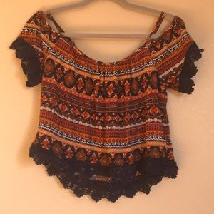 Boho style off the shoulder top